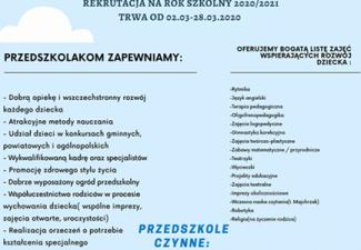 REKRUTACJA NA NOWY ROK SZKOLNY 2020/2021 ZAPRASZAMY !