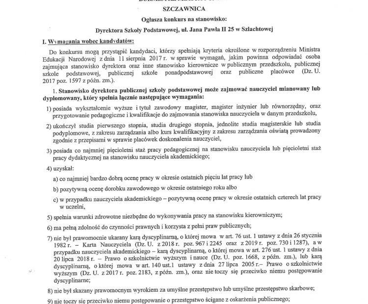 Ogłoszenie o konkursie na Dyrektora Szkoły w Szlachtowej.